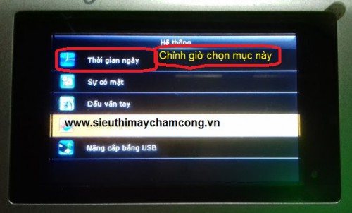 chinh gio tren may cham cong